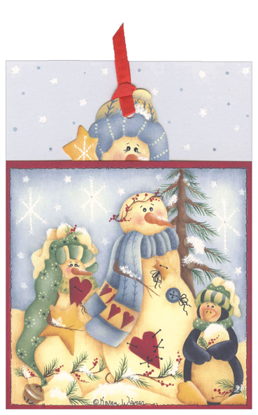 Snowman & Penguin Pocket Ornament Card (12 cards/12 envelopes) LPG Bookmark Boxed Holiday Cards - FRONT: No Text  INSIDE: Wishing you Happy Holidays and a New Year filled with joy!