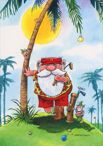 Golfer Santa Leaning Against Palm Tree Gary Patterson Tropical