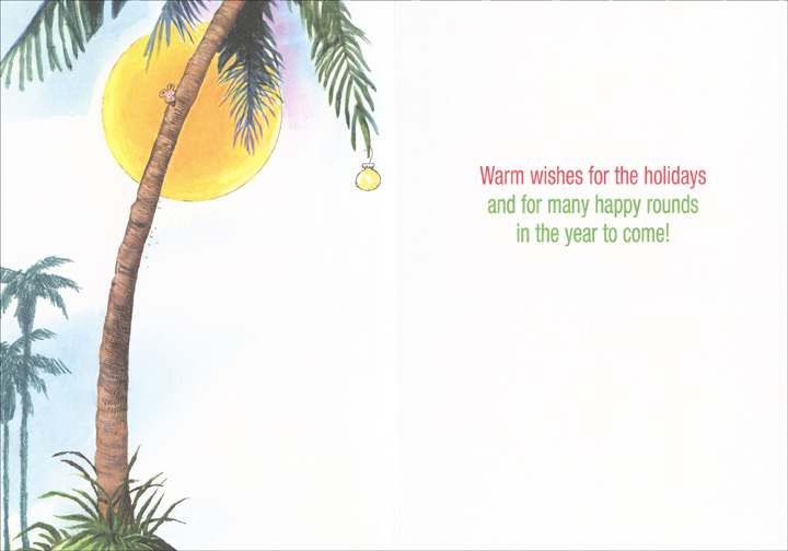 Golfer Santa Leaning Against Palm Tree (18 cards/18 envelopes) Gary Patterson Tropical Boxed Holiday Cards  INSIDE: Warm wishes for the holidays and for many happy rounds in the year to come!