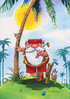 Golfer Santa Leaning Against Palm Tree Holiday Card