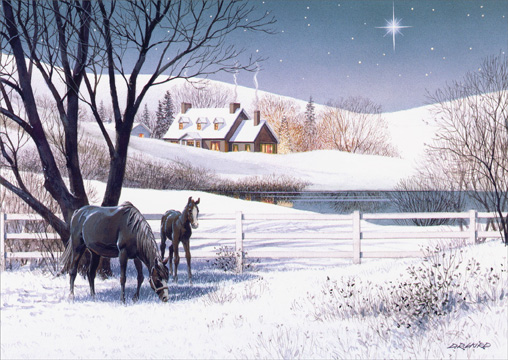 Black Horses Grazing (1 card/1 envelope) - Holiday Card  INSIDE: May the peace and beauty of the season bring you happiness that grows in the coming year.