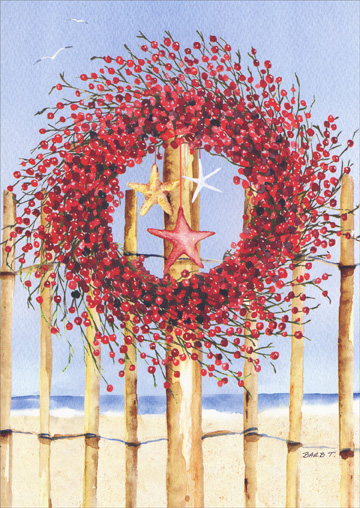 Red Wreath and Star Fish on Fence (18 cards/18 envelopes) Barb Tourtillotte Warm Weather Boxed Holiday Cards  INSIDE: Warmest wishes for happy holidays and peace in the coming year