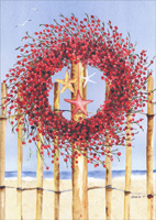Red Wreath and Star Fish on Fence Box of 18 Holiday Cards