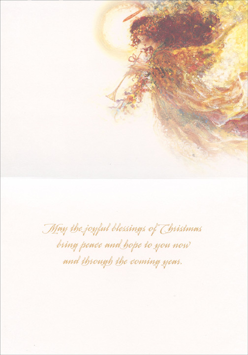 Joy Angel (1 card/1 envelope) Stewart Sherwood Christmas Card - FRONT: JOY  INSIDE: May the joyful blessings of Christmas bring peace and hope to you now and through the coming year.