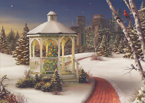 Gazebo with Red Brick Path (18 cards/18 envelopes) - Boxed Holiday Cards  INSIDE: Wishing you all the best this holiday season and in the coming year.