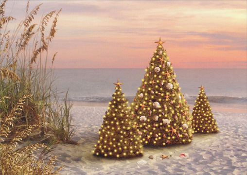 Decorated Trees on Beach (18 cards/18 envelopes) Alan Giana Tropical Boxed Holiday Cards  INSIDE: May the beauty of the season bring you peace and joy.