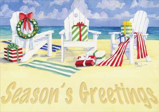 Beach Chairs (18 cards/18 envelopes) Paul Brent Tropical Boxed Holiday Cards - FRONT: Season's Greetings  INSIDE: May wonderful memories of the holidays be the best gifts that you receive.