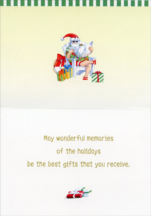 Beach Chairs (1 card/1 envelope) - Holiday Card - FRONT: Season's Greetings  INSIDE: May wonderful memories of the holidays be the best gifts that you receive.