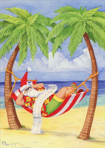 santa in hammock on beach  card/ envelope paul brent tropical, Greeting card