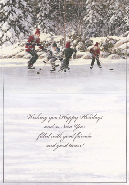Playing Hockey on Pond (18 cards/18 envelopes) - Boxed Holiday Cards - FRONT: Warm Holiday Wishes  INSIDE: Wishing you Happy Holidays and a New Year filled with good friends and good times!