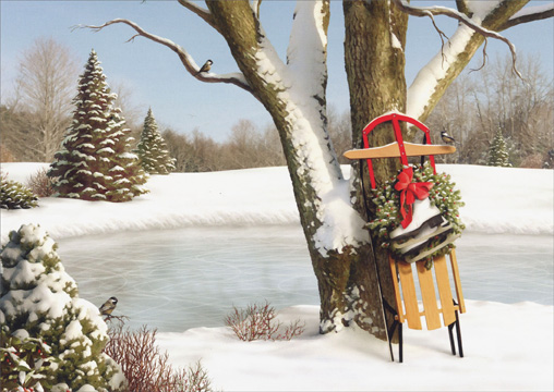 Sled Leaning Against Tree (18 cards/18 envelopes) Alan Giana Boxed Christmas Cards  INSIDE: May your Christmas be filled with peaceful moments and happy times.