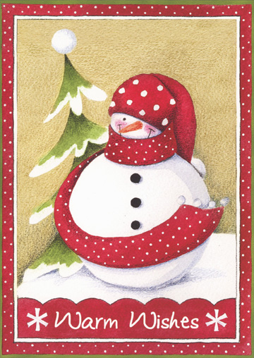 Snowman with Long Red Scarf (18 cards/18 envelopes) - Boxed Holiday Cards - FRONT: Warm Wishes  INSIDE: Happy Holidays! Warm Wishes for a Wonderful New Year!