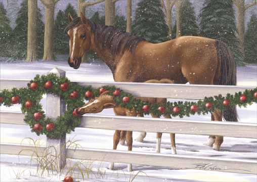 Brown Horses Eating Apples Off Wreath (1 card/1 envelope) - Holiday Card  INSIDE: Wishing you holidays that bring fun-filled moments and wonderful memories!