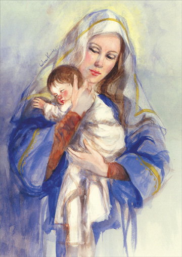 Mary with Baby Jesus (18 cards/18 envelopes) Helen Kunic Religious Boxed Christmas Cards  INSIDE: May God's greatest gift of love bring you peace and joy at Christmas and in the New Year.