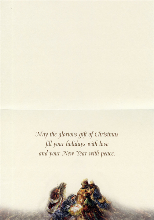 Wise Men with Baby Jesus (1 card/1 envelope) Stewart Sherwood Religious Christmas Card  INSIDE: May the glorious gift of Christmas fill your holidays with love and your New Year with peace.