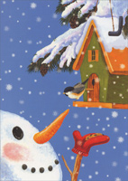 Snowman Feeding Bird Box of 16 Christmas Cards
