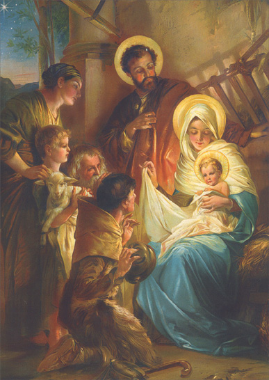 Blessed Family in Manger (1 card/1 envelope) Religious Christmas Card  INSIDE: May the blessings of Christmas be yours now and always. Merry Christmas - Happy New Year