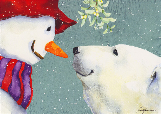 Snowman & Polar Bear Under Mistletoe (1 card/1 envelope) Barb Tourtillotte Christmas Card  INSIDE: Wishing you love, Wishing you happiness, This season - and always!