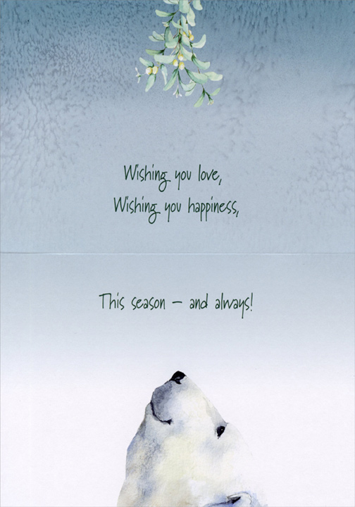 Snowman & Polar Bear Under Mistletoe (16 cards/16 envelopes) Barb Tourtillotte Boxed Christmas Cards  INSIDE: Wishing you love, Wishing you happiness, This season - and always!