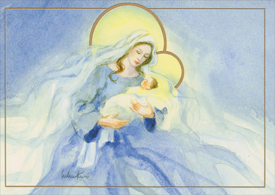 mary in blue with baby jesus helen kunic religious christmas card by lpg greetings - Jesus Christmas Cards