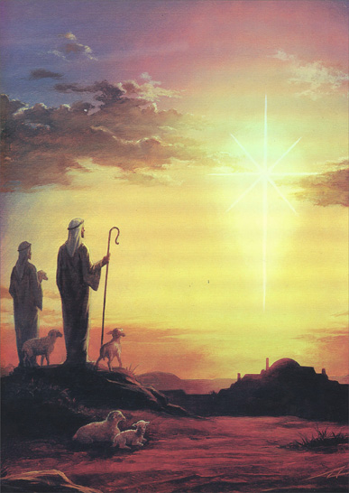 Shepherds on Hill at Sunset (14 cards/14 envelopes) - Boxed Christmas Cards  INSIDE: Wishing you the peace, love and happiness that the miracle of Christmas brings