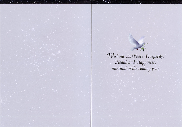 Dove with Earth Ornament (1 card/1 envelope) - Christmas Card  INSIDE: Wishing you Peace, Prosperity, Health and Happiness, now and in the coming year