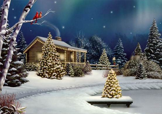 Cabin on Lake (14 cards/14 envelopes) Alan Giana Boxed Christmas Cards  INSIDE: During this holiday season, may peace and happiness fill your heart and your home.