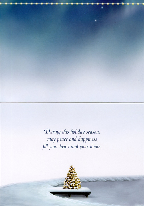Cabin on Lake (14 cards/14 envelopes) - Boxed Christmas Cards  INSIDE: During this holiday season, may peace and happiness fill your heart and your home.