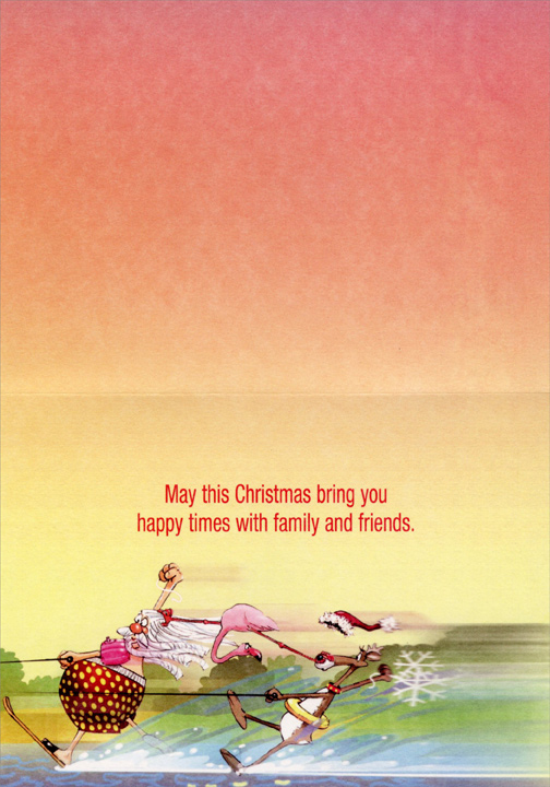 Flamingo Fun (1 card/1 envelope) - Christmas Card  INSIDE: May this Christmas bring you happy times with family and friends.