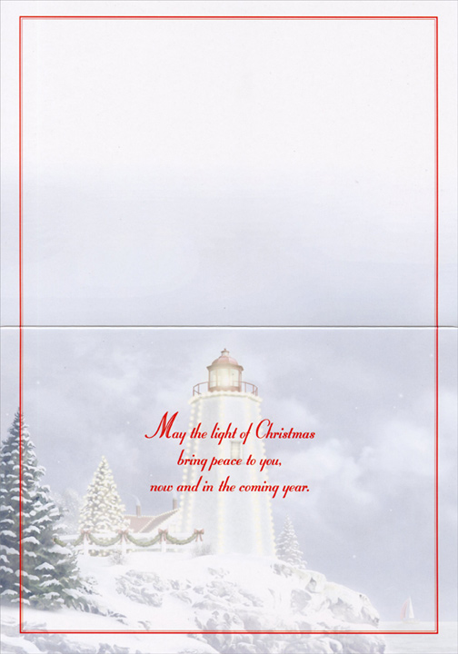 Glittered Lighthouse (14 cards & 14 envelopes) Alan Giana Boxed Christmas Cards  INSIDE: May the light of Christmas bring peace to you, now and in the coming year.
