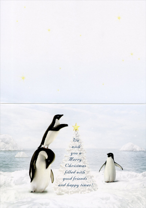 Penguins Decorating Tree (14 cards & 14 envelopes) Alan Giana Boxed Christmas Cards  INSIDE: We wish you a Merry Christmas filled with good friends and happy times!
