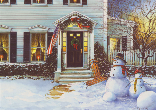 Snowmen American Homestead (14 cards & 14 envelopes) - Boxed Christmas Cards  INSIDE: May your home be filled with the warmth of love and laughter this Christmas and always!