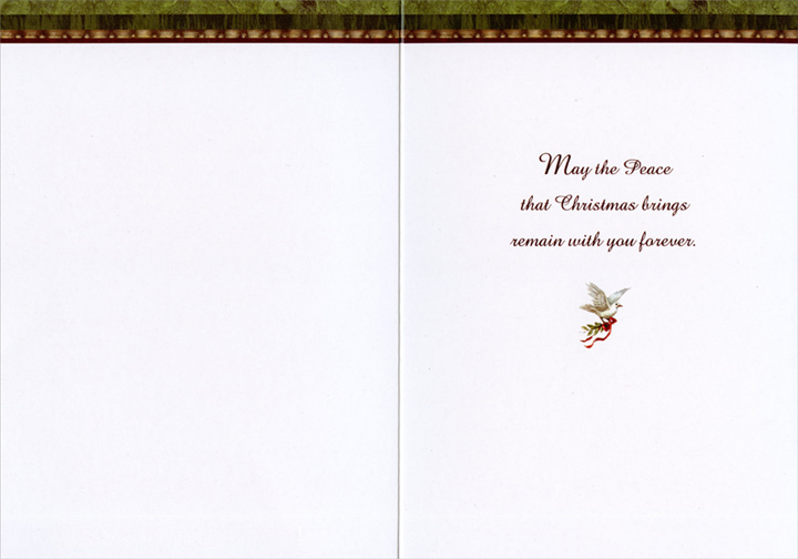 Santa Walking with Lion & Lamb (1 card/1 envelope) Christmas Card  INSIDE: May the peace that Christmas brings remain with you forever.