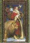 Santa Walking with Lion & Lamb (1 card/1 envelope) - Christmas Card  INSIDE: May the peace that Christmas brings remain with you forever.