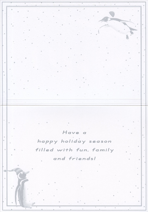 Penguins on Sled (1 card/1 envelope) Christmas Card - FRONT: Happy Holidays!  INSIDE: Have a happy holiday season filled with fun, family and friends!