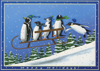Penguins on Sled Christmas Card