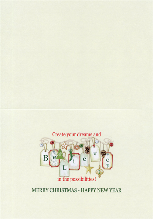 Believe String of Tags (16 cards & 16 envelopes) - Boxed Christmas Cards - FRONT: Believe  INSIDE: Create your dreams and believe in the possibilities! Merry Christmas - Happy New Year