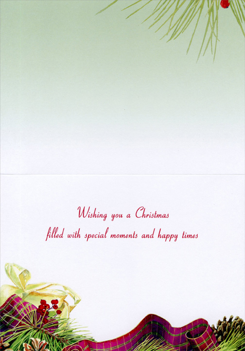 Kitten Playing with Pine Cone (1 card/1 envelope) Cat Christmas Card  INSIDE: Wishing you a Christmas filled with special moments and happy times