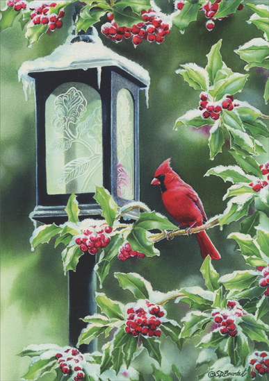 Coachlight Cardinal (1 card/1 envelope) Christmas Card  INSIDE: Best wishes for a warm and wonderful holiday season