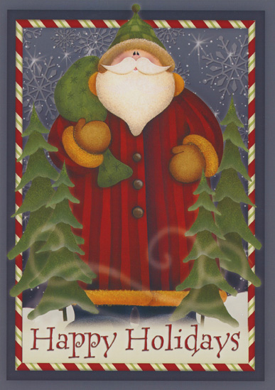 Happy Holidays Santa (1 card/1 envelope) Christmas Card - FRONT: Happy Holidays  INSIDE: Wishing you the most wonderful Christmas and the best & brightest New Year ever!