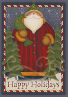 Santa with Candy Stripe Border Box of 16 Christmas Cards