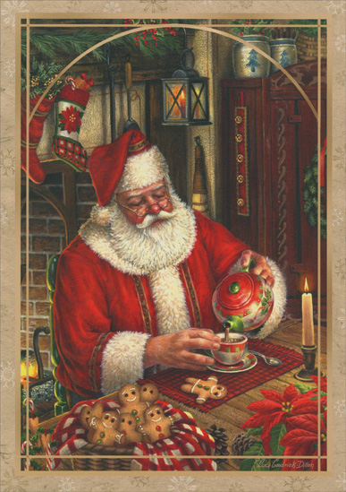 Santa Pouring Tea (16 cards & 16 envelopes) - Boxed Christmas Cards  INSIDE: May your holidays be filled with quiet moments amid much celebration and joy. Merry Christmas and Happy New Year