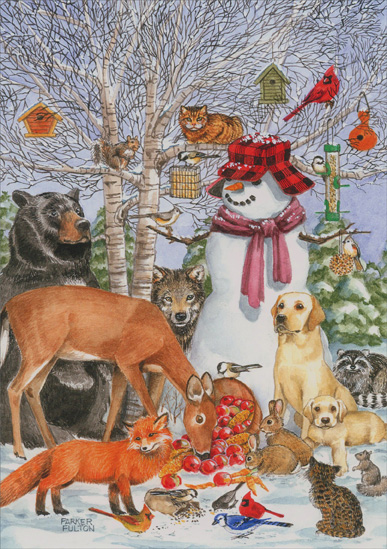 Snowman with Animals (1 card/1 envelope) - Christmas Card  INSIDE: May peace fill your heart now and always.