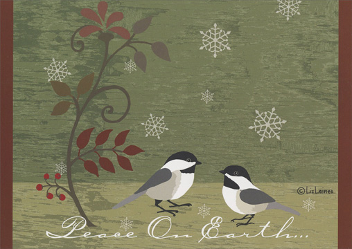 Contemporary Birds & Branch (1 card/1 envelope) Christmas Card - FRONT: Peace on Earth…  INSIDE: Happy Holidays and Peace in the New Year