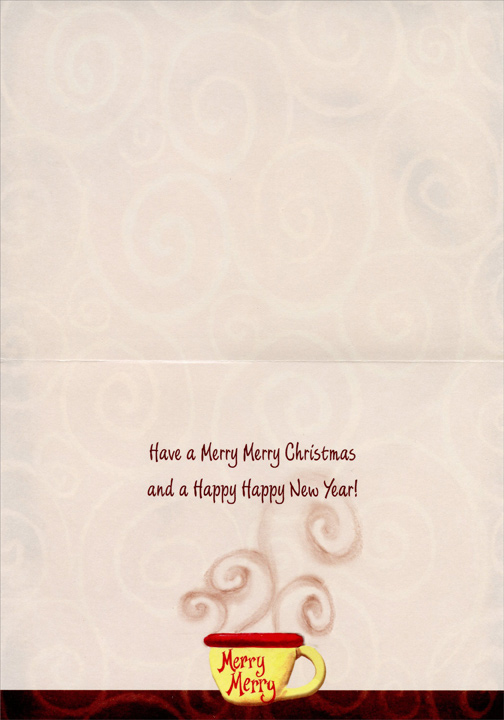Santa Drinking Cocoa (1 card/1 envelope) Christmas Card - FRONT: Merry Merry  INSIDE: Have a Merry Merry Christmas and a Happy Happy New Year!