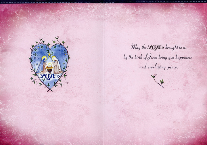 Love Heart (1 card/1 envelope) - Christmas Card - FRONT: LOVE  INSIDE: May the love brought to us by the birth of Jesus bring you happiness and everlasting peace.