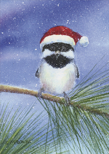 Holiday Chickadee (1 card/1 envelope) - Christmas Card  INSIDE: Have yourself a Merry Little Christmas and a Happy New Year too!
