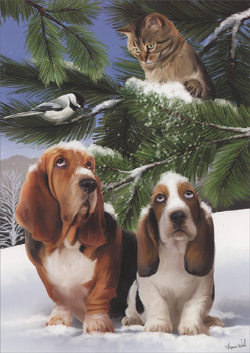 Bassetts & Cat (18 cards & 18 envelopes) - Boxed Christmas Cards  INSIDE: Wishing you holidays that are carefree and fun!