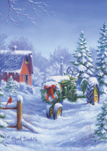 Snow Covered John Deere Tractor (1 card/1 envelope) - Christmas Card  INSIDE: Wishing you a Christmas and a New Year filled with peace and joy!