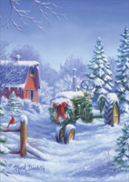 Snow Covered John Deere Tractor Christmas Card